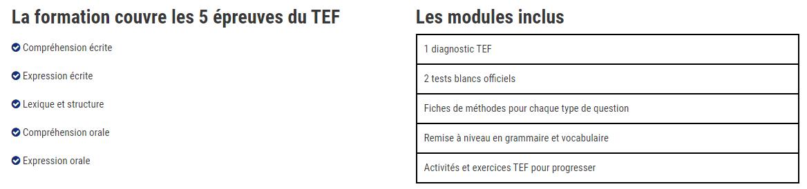 Contenu de la formation TEF de PrepMyfuture